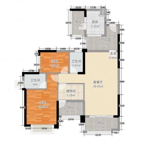 雅居乐御龙山2室2厅2卫1厨115.00㎡户型图