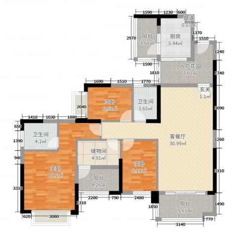 雅居乐御龙山3室2厅2卫1厨129.00㎡户型图