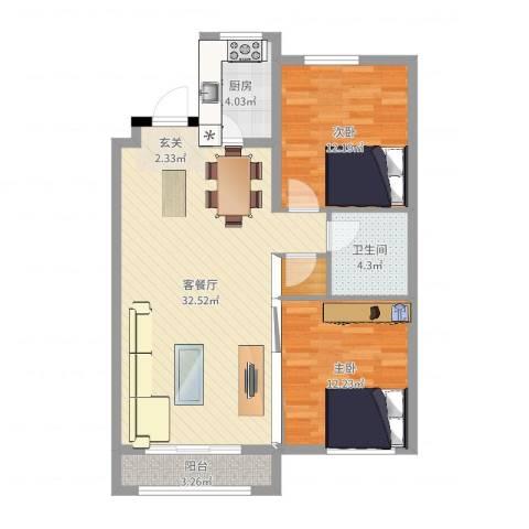 欧典・宏峪2室2厅1卫1厨87.00㎡户型图