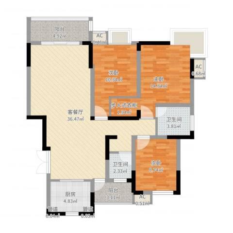 国信龙湖世家3室2厅2卫1厨114.00㎡户型图