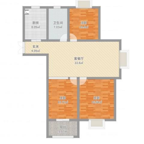 易郡龙腾3室2厅1卫1厨119.00㎡户型图