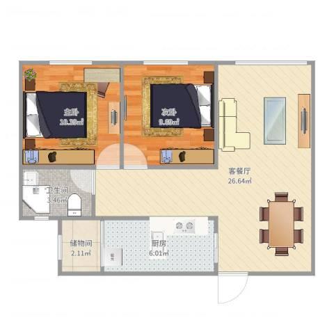 东方巴黎广场2室2厅1卫1厨73.00㎡户型图