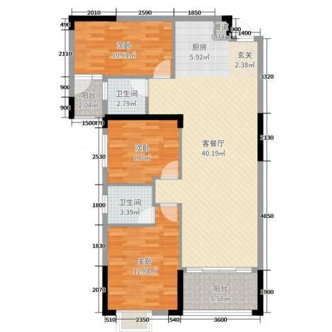 御水湾3室2厅2卫0厨89.00㎡户型图