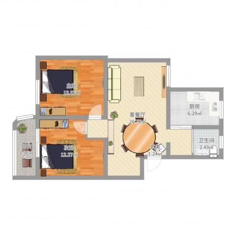 德华一村2室2厅1卫1厨94.00㎡户型图