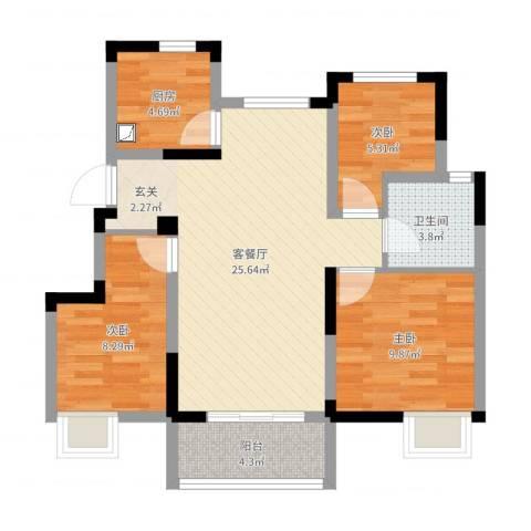 银亿东城3室2厅1卫1厨77.00㎡户型图