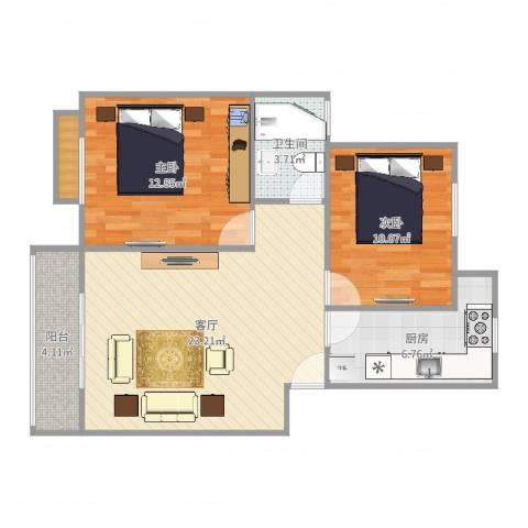 浦江世博家园十一街坊2室1厅1卫1厨77.00㎡户型图