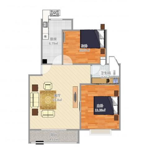 浦江世博家园十一街坊2室1厅1卫1厨76.00㎡户型图