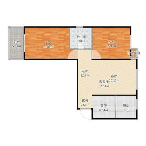 盛和嘉园2室2厅1卫1厨112.00㎡户型图