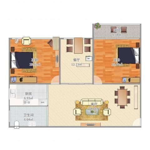 通协小区2室2厅1卫1厨131.00㎡户型图