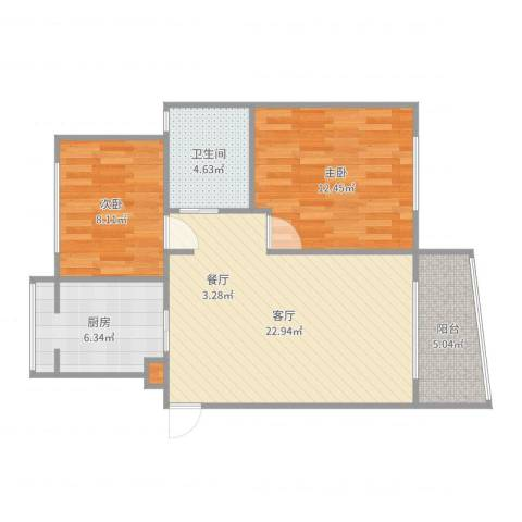 浦江世博家园十一街坊2室1厅1卫1厨75.00㎡户型图