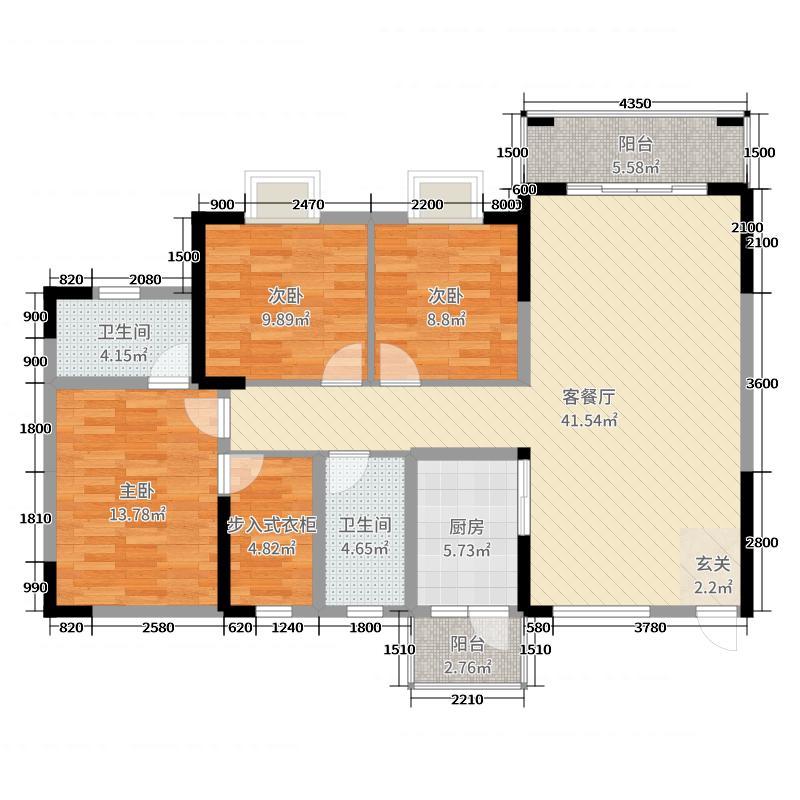 广大城136.00㎡项目D户型3室3厅2卫1厨