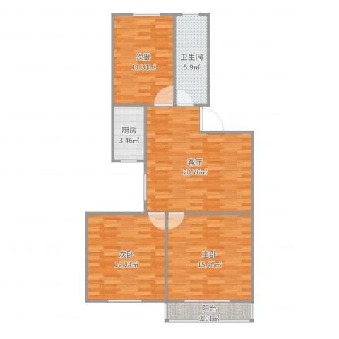 嘉城新航域803室1厅1卫1厨93.00㎡户型图