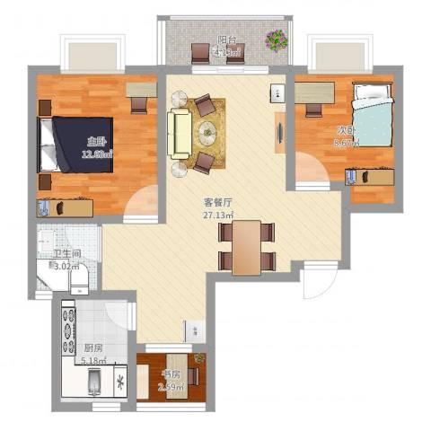 嘉城雅颂湾3室2厅1卫1厨79.00㎡户型图