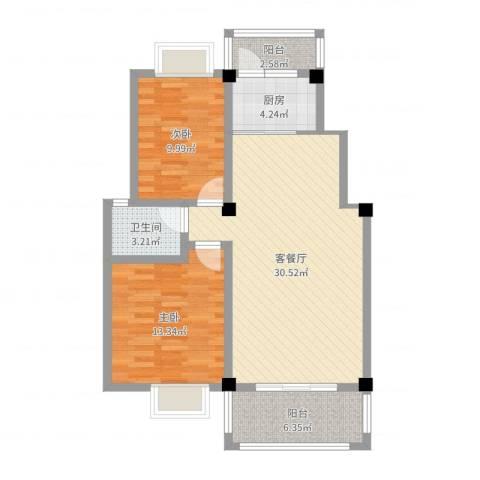 怡兰苑2室2厅1卫1厨88.00㎡户型图