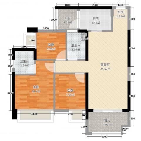 豪逸御华庭3室2厅2卫1厨89.00㎡户型图