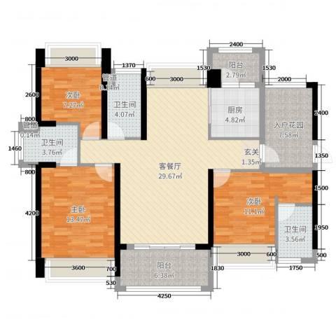 豪逸御华庭3室2厅3卫1厨119.00㎡户型图
