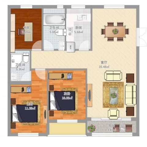 盛世华城3室1厅2卫1厨106.00㎡户型图