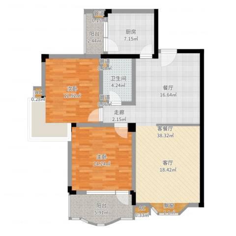 嘉城雅颂湾2室2厅1卫1厨108.00㎡户型图