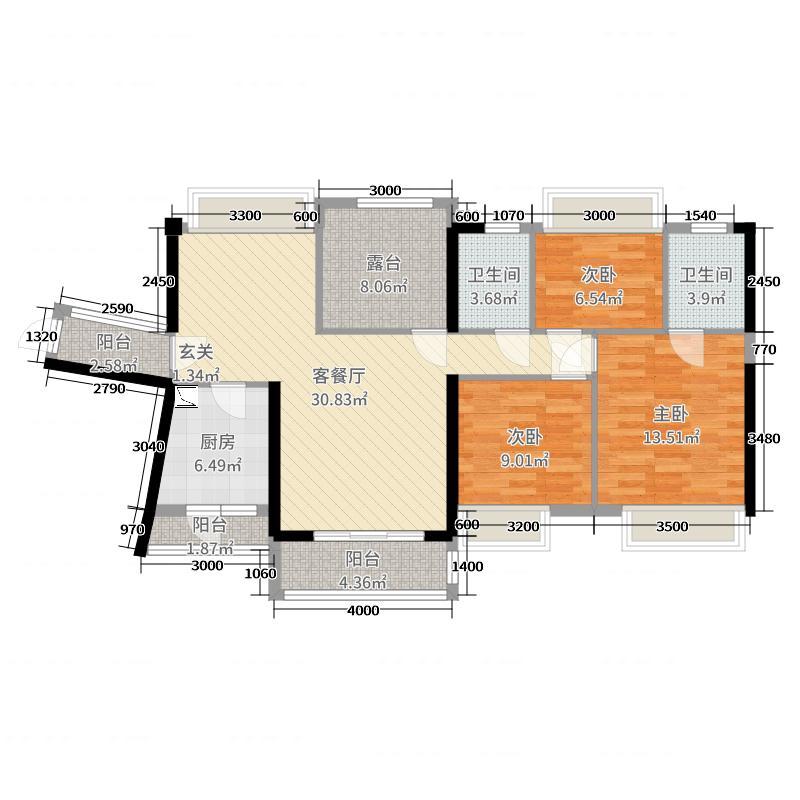 碧桂园・南站新城115.00㎡C区1-9栋B户型3室3厅2卫1厨