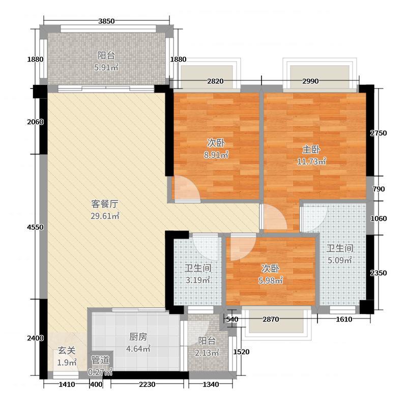 华隆臻华花园102.00㎡12栋02户型3室3厅2卫