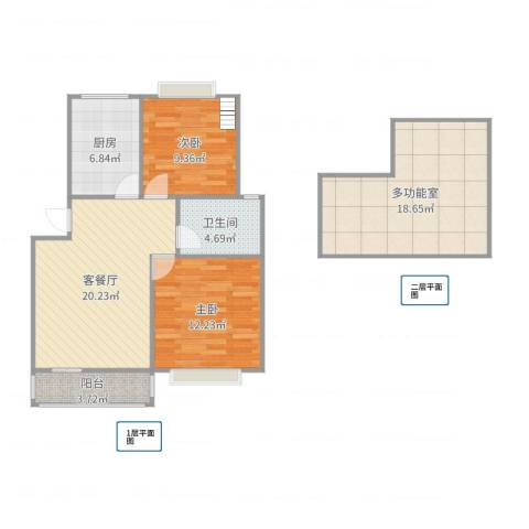 嘉城新航域2室2厅1卫1厨95.00㎡户型图