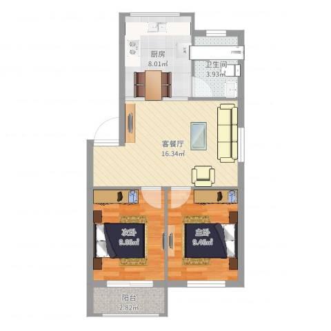 东裕新村2室2厅1卫1厨63.00㎡户型图