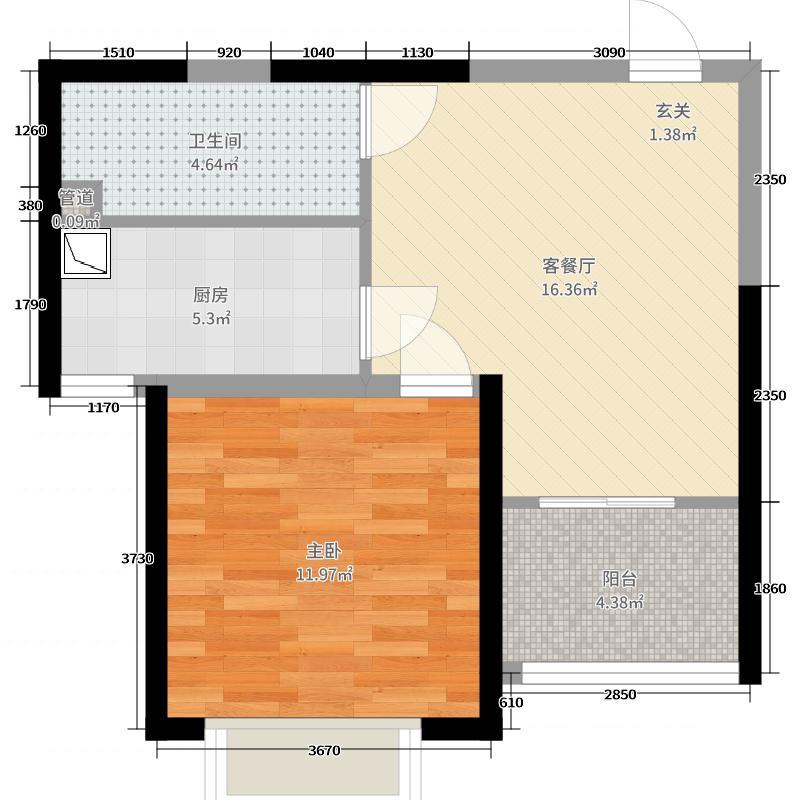 恒大绿洲53.90㎡三期30#楼4户型1室1厅1卫1厨