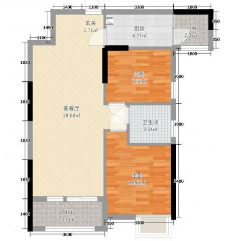 TCL康城四季2室2厅1卫1厨81.00㎡户型图