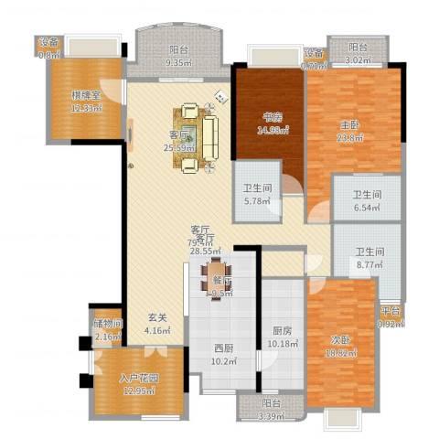 华明园3室1厅3卫1厨267.00㎡户型图