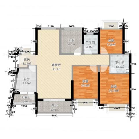 汇景御海蓝岸3室2厅2卫1厨126.00㎡户型图