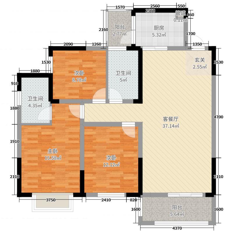 夫夷新城121.17㎡F户型3室3厅2卫1厨