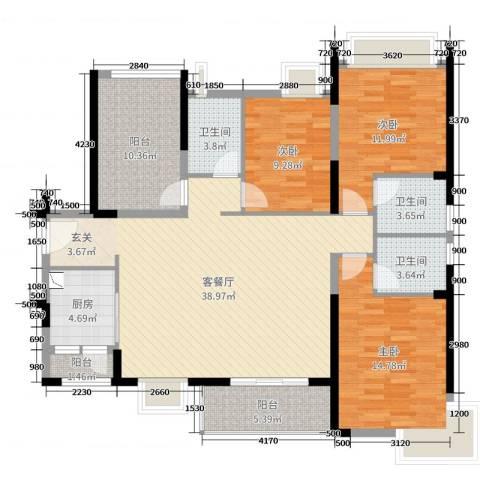 汇景御海蓝岸3室2厅3卫1厨138.00㎡户型图