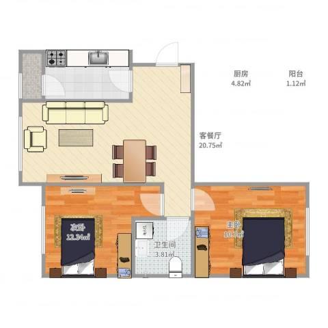 天兴家园2室2厅1卫1厨67.00㎡户型图