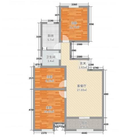 万泰广场3室2厅1卫1厨95.00㎡户型图