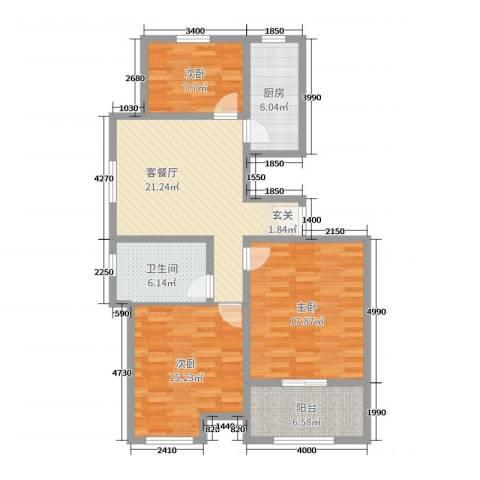 万泰广场3室2厅1卫1厨101.00㎡户型图