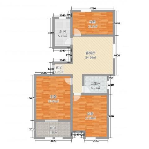 万泰广场3室2厅1卫1厨114.00㎡户型图