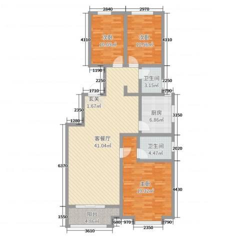 桃源山庄3室2厅2卫1厨125.00㎡户型图