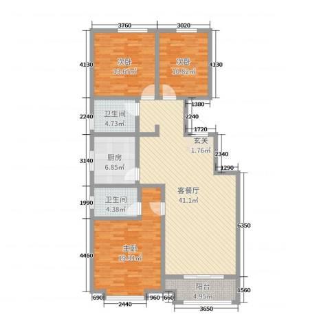 桃源山庄3室2厅2卫1厨105.80㎡户型图