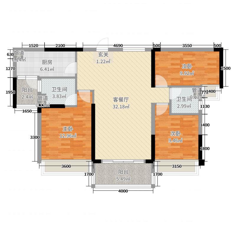 碧桂园公园壹号118.00㎡YJ118B户型3室3厅2卫1厨