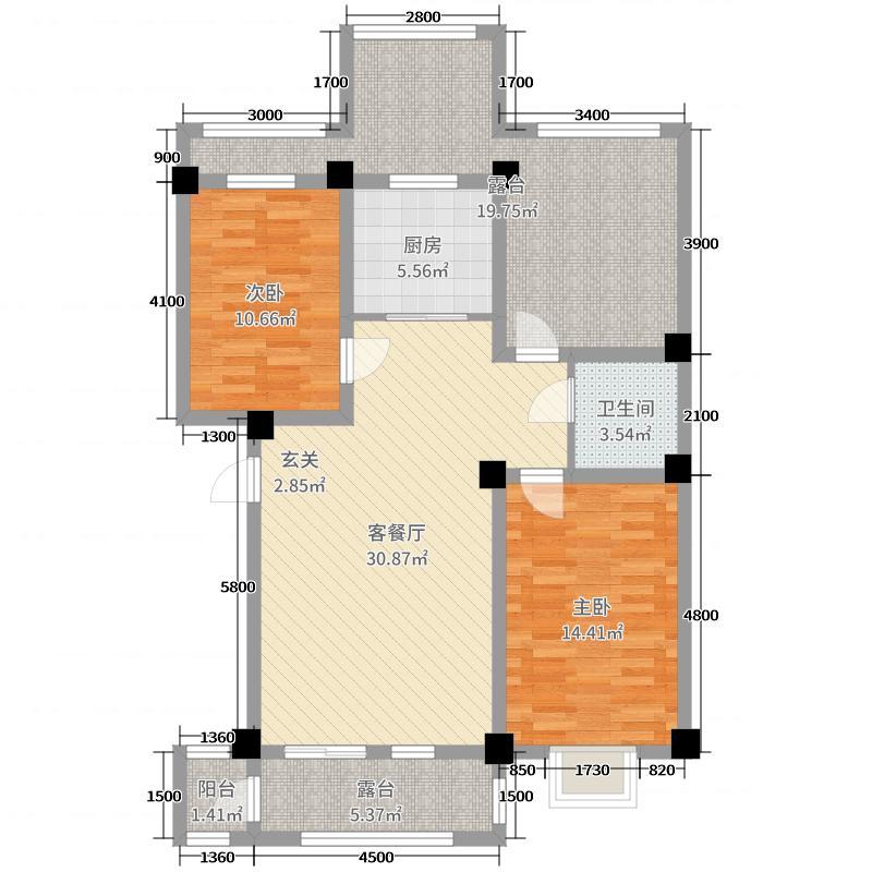 长城惠兰园C区89.21㎡4#A2阁楼层户型2室2厅1卫1厨