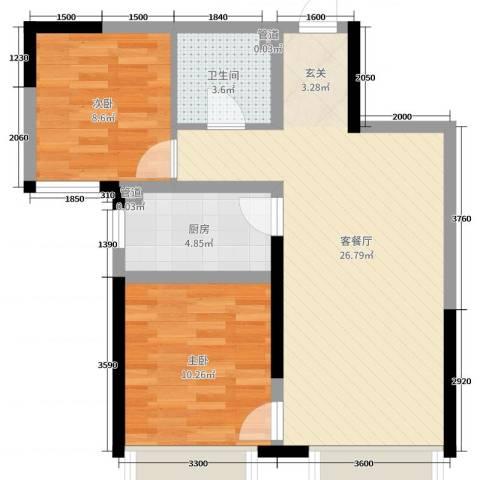 中海国际社区2室2厅1卫1厨80.00㎡户型图