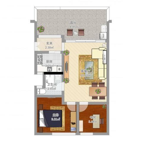 祈福新村C区2室2厅1卫1厨70.00㎡户型图