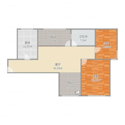 古银杏苑2室1厅1卫1厨125.00㎡户型图