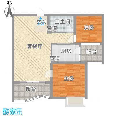 东台碧桂园90.00㎡一期精装洋房J475-B户型2室2厅1卫1厨