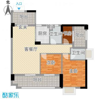 博达汇峰106.00㎡1栋01户型3室3厅2卫1厨
