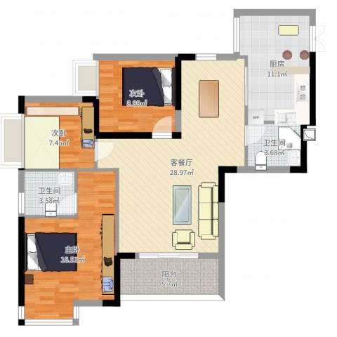 皇冠国际天幕3室2厅2卫1厨107.00㎡户型图