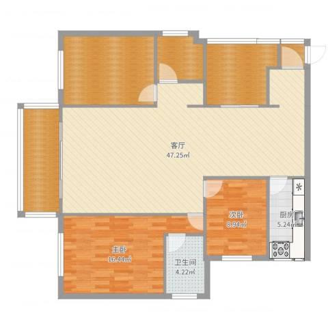 国际佳缘2室1厅1卫1厨142.00㎡户型图