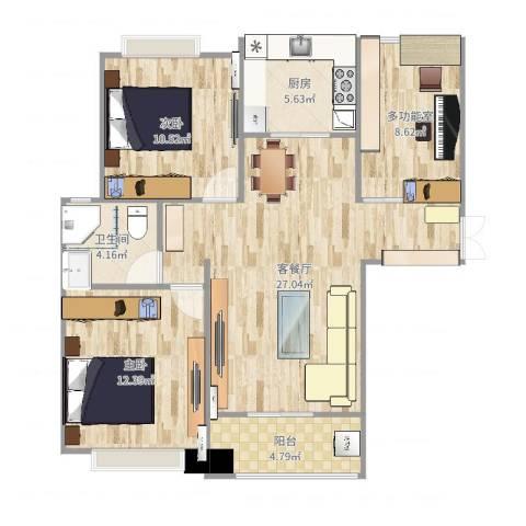 利港银河广场2室2厅1卫1厨91.00㎡户型图