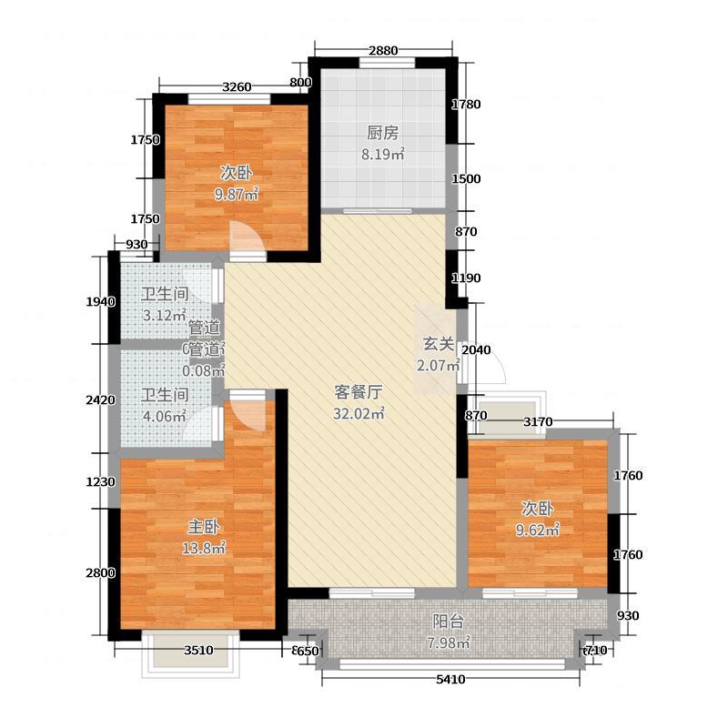 万兴凤凰广场110.28㎡5A户型3室3厅2卫1厨