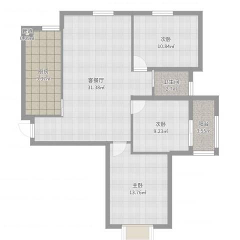 江南雅苑3室2厅1卫1厨101.00㎡户型图